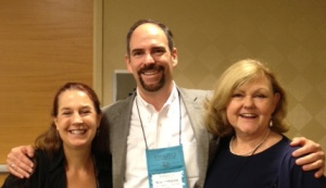 Mark Leslie Lefebvre with Jewels of Historical Romance authors Brenda Hiatt (left) and Cheryl Bolen (right).