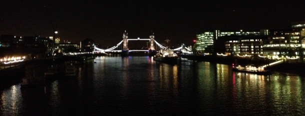 Skyline with Tower Bridge at night