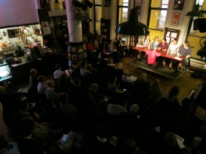 Over 100 attendees gathered at Housing Works Bookstore Café.