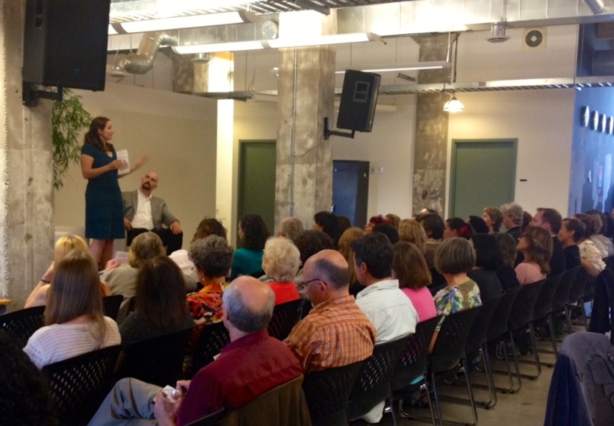 Joanna Penn speaks to a crowd of local authors at Kobo's Toronto headquarters.