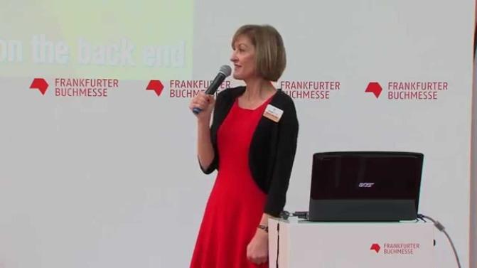 Nancy L. Baumann presenting at Frankfurt Book Fair